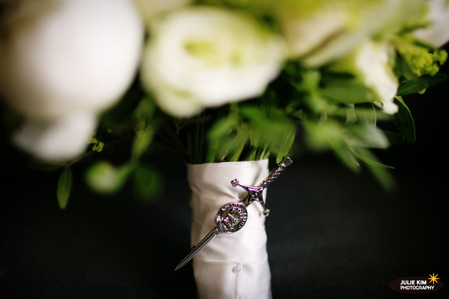 fastening on wedding bouquet